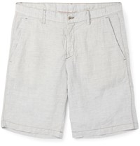 Massimo Alba Slim Fit Striped Linen Shorts Neutrals