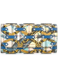 Burberry Chain Print Wallet Blue