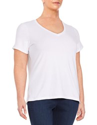 Lord And Taylor Plus Cotton Blend V Neck Tee White