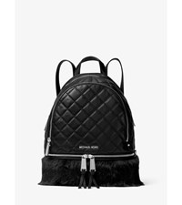 Rhea Medium Quilted Leather Backpack Black