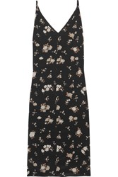 Golden Goose Deluxe Brand Floral Print Silk Crepe Midi Dress Black
