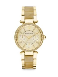 Michael Kors Goldtone Finished Stainless Steel And Horn Look Link Chronograph Bracelet Watch