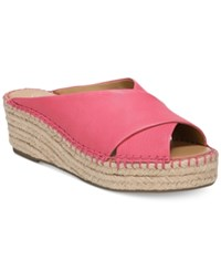 Franco Sarto Polina Espadrille Platform Wedge Sandals Created For Macy's Women's Shoes Hot Pink Leather