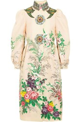 Gucci Embellished Embroidered Cloque Coat Ivory