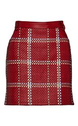 Magda Butrym High Rise Woven Leather Mini Skirt Red