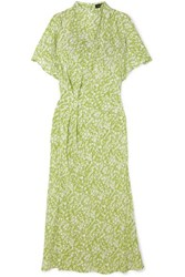 Stine Goya Rhode Gathered Floral Print Silk Crepe De Chine Midi Dress Lime Green