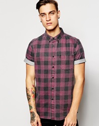 Asos Denim Shirt In Short Sleeve With Red Buffalo Check