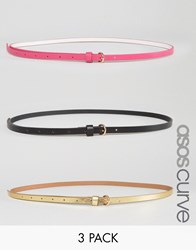 Asos Curve 3 Pack Multi Coloured Skinny Waist And Hip Belts Multi