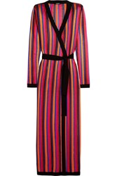 Balmain Striped Open Knit Cardigan Red