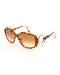 Christian Dior Gradient Oval Acetate Sunglasses Brown