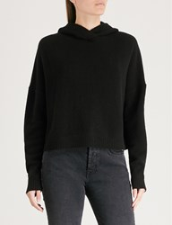 Theory Ribbed Trims Cashmere Hoody Black
