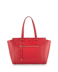 Furla Ginevra Large Leather Satchel Bag Ruby Red
