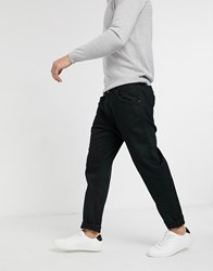 Selected Homme Relaxed Cropped Tapered Jeans In Black