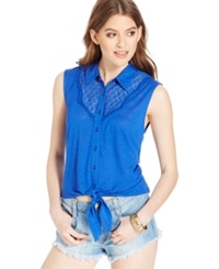 American Rag Button Front Sleeveless Shirt Surf The Web