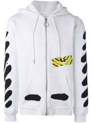 Off White Printed Zip Up Hoodie White