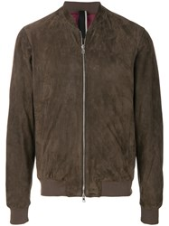 Low Brand Leather Bomber Jacket Brown