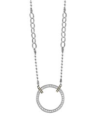 Lagos 18K Gold And Sterling Silver Enso Circle Pendant Necklace With Diamonds 16 Silver Gold