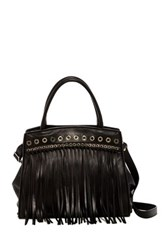 Abro Leather Fringe Grommet Tote Black