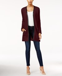 Charter Club Petite Faux Leather Trim Cardigan Only At Macy's Cranberry