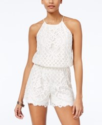 Jessica Simpson Tie Back Lace Romper White