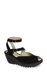 Fly London Yaxi Wedge Sandal Black Suede