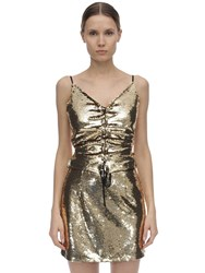Amen Sequined Open Back Top Gold