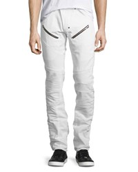Prps Slim Straight Moto Jeans White