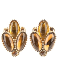 Rewind Vintage Affairs 1950'S Glass Earrings Brown