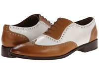 Messico Capuchino Tan White Leather Men's Dress Flat Shoes Beige