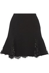 Oscar De La Renta Lace Trimmed Wool Blend Crepe Mini Skirt Black