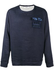 Valentino Embellished Military Patch Sweatshirt Blue