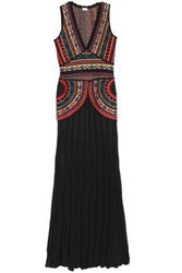Talitha Pleated Intarsia Knit Gown Black