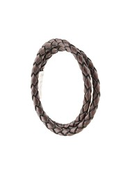 Tateossian Double Wrap Braided Bracelet Brown