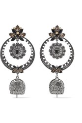 Alexander Mcqueen Silver Tone Crystal And Bead Earrings One Size