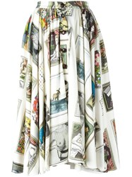 Olympia Le Tan Printed Flared Skirt Nude Neutrals