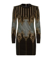Balmain Studded Baroque Long Sleeve Dress Female Multi