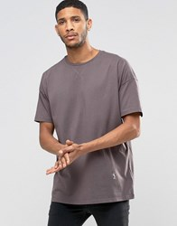 Religion Crew Neck T Shirt With Oversized Drop Shoulder Detail Ash Grey