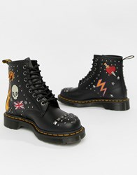 Dr. Martens Dr 1460 Black Leather Rockabilly Flat Ankle Boots Black And White