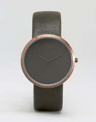 Asos Sleek Watch In Khaki And Copper Khaki Green