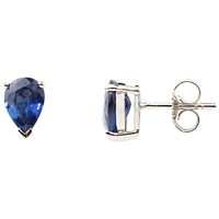 A B Davis 9Ct White Gold Sapphire Earrings Blue