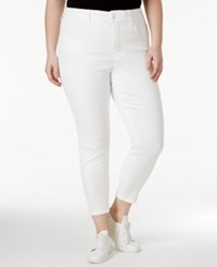 Melissa Mccarthy Seven7 Trendy Plus Size Dark Pink Wash Pencil Ankle Jeans White
