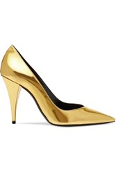 Saint Laurent Kiki Mirrored Leather Pumps Gold