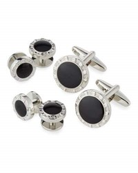 Ike Behar Round Cuff Links And Shirt Studs Set Silver Bla