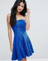 Forever Unique Strapless Mini Lace Detailed Dress Sax Blue