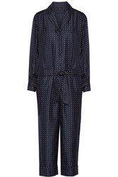 Rag And Bone Arthur Polka Dot Silk Twill Jumpsuit Blue