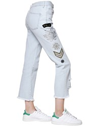 Mrandmrs Italy Embroidered Faded Cotton Denim Jeans