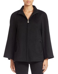 Betsey Johnson Wool Blend Zip Front Jacket Black