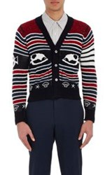 Thom Browne Men's Fair Isle Cardigan Red