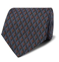 Dunhill 8Cm Textured Mulberry Silk Jacquard Tie Blue