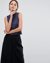 New Look High Neck Sleeveless Top Navy